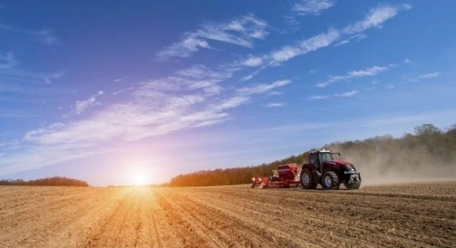 Sowing and plowing action in the spring season