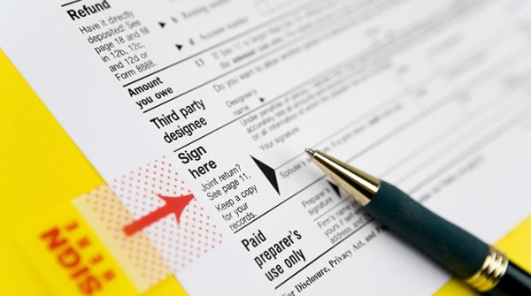 Sign a tax form