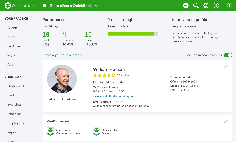 QuickBooks Online Accountant ProAdvisor Profile
