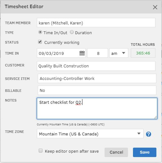 TSheets Time System