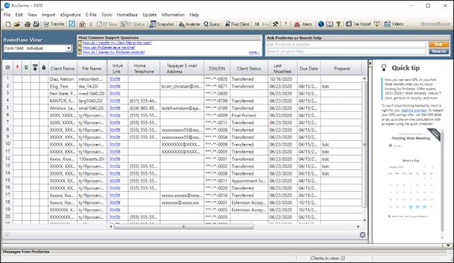 Database ProSeries 2020